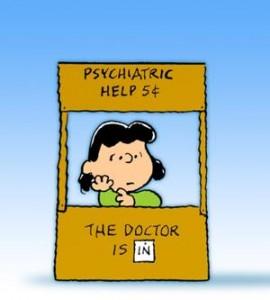 Lucy Van Pelt in her The Doctor Is In Booth