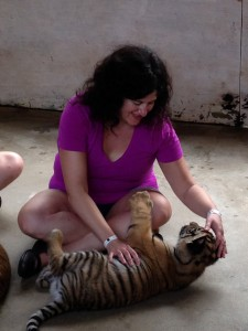 Tellulah Darling plays with tiger cub